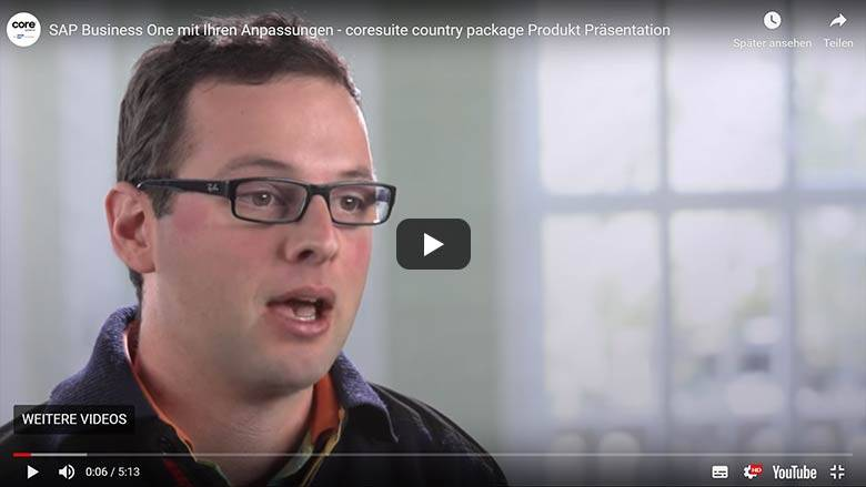 coresuite country package Produkt Präsentation SAP Business One mit Ihren Anpassungen