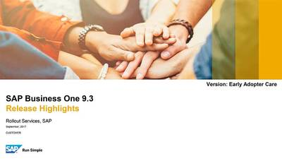 SAP Business One 9.3 Release Highlights